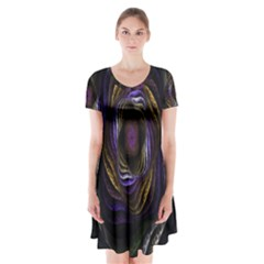 Abstract Fractal Art Short Sleeve V-neck Flare Dress