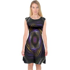 Abstract Fractal Art Capsleeve Midi Dress
