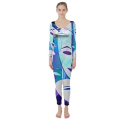 Abstract Mask Artwork Digital Art Long Sleeve Catsuit