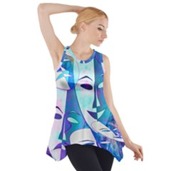 Abstract Mask Artwork Digital Art Side Drop Tank Tunic