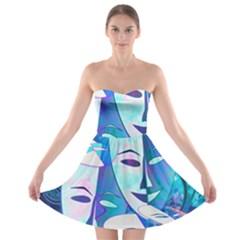 Abstract Mask Artwork Digital Art Strapless Bra Top Dress