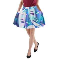 Abstract Mask Artwork Digital Art A-Line Pocket Skirt