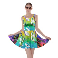 Abstract Mask Artwork Digital Art Skater Dress