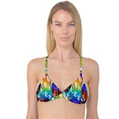 Abstract Mask Artwork Digital Art Reversible Tri Bikini Top