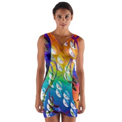 Abstract Mask Artwork Digital Art Wrap Front Bodycon Dress