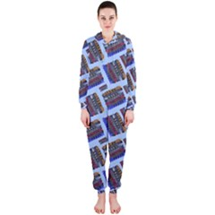 Abstract Pattern Seamless Artwork Hooded Jumpsuit (ladies)