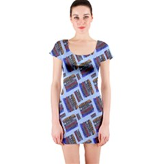 Abstract Pattern Seamless Artwork Short Sleeve Bodycon Dress
