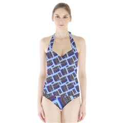 Abstract Pattern Seamless Artwork Halter Swimsuit