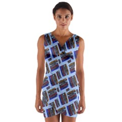 Abstract Pattern Seamless Artwork Wrap Front Bodycon Dress