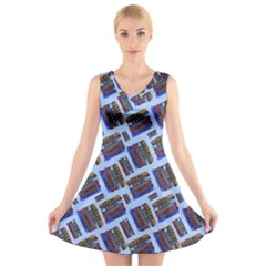 Abstract Pattern Seamless Artwork V Neck Sleeveless Skater Dress