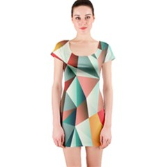 Abstracts Colour Short Sleeve Bodycon Dress