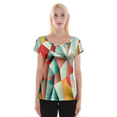 Abstracts Colour Women s Cap Sleeve Top