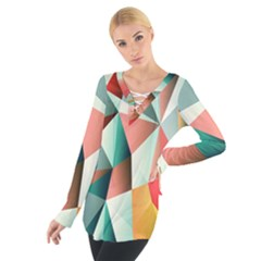 Abstracts Colour Women s Tie Up Tee