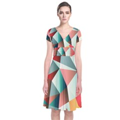 Abstracts Colour Short Sleeve Front Wrap Dress