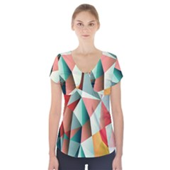 Abstracts Colour Short Sleeve Front Detail Top