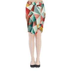 Abstracts Colour Midi Wrap Pencil Skirt
