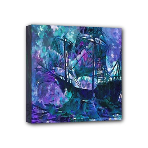 Abstract Ship Water Scape Ocean Mini Canvas 4  x 4