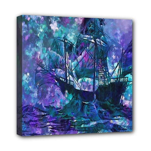 Abstract Ship Water Scape Ocean Mini Canvas 8  x 8
