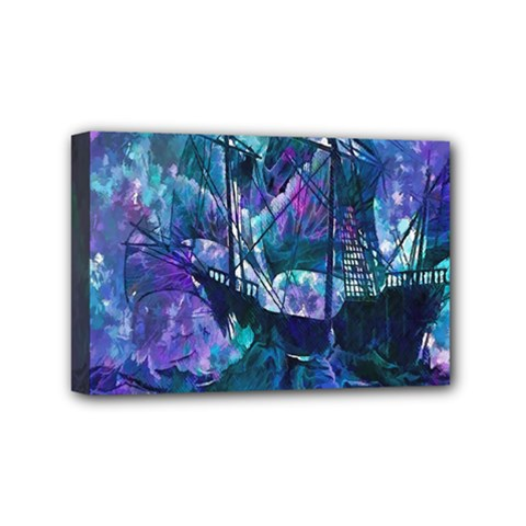 Abstract Ship Water Scape Ocean Mini Canvas 6  x 4
