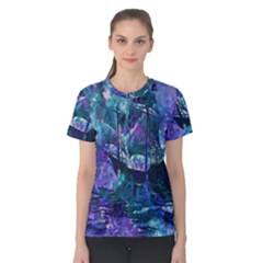 Abstract Ship Water Scape Ocean Women s Cotton Tee