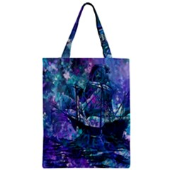 Abstract Ship Water Scape Ocean Zipper Classic Tote Bag