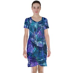 Abstract Ship Water Scape Ocean Short Sleeve Nightdress