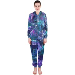 Abstract Ship Water Scape Ocean Hooded Jumpsuit (ladies)