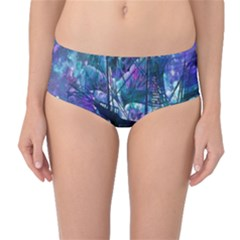 Abstract Ship Water Scape Ocean Mid Waist Bikini Bottoms