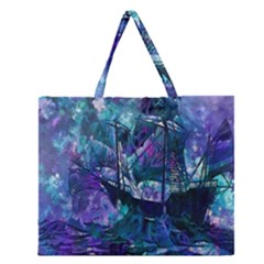 Abstract Ship Water Scape Ocean Zipper Large Tote Bag