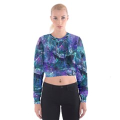 Abstract Ship Water Scape Ocean Women s Cropped Sweatshirt