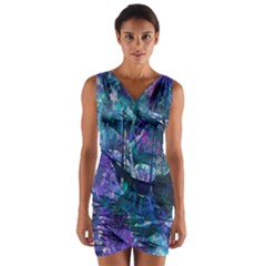 Abstract Ship Water Scape Ocean Wrap Front Bodycon Dress