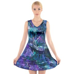 Abstract Ship Water Scape Ocean V Neck Sleeveless Skater Dress