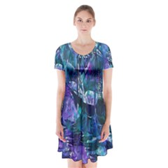 Abstract Ship Water Scape Ocean Short Sleeve V-neck Flare Dress