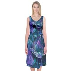 Abstract Ship Water Scape Ocean Midi Sleeveless Dress