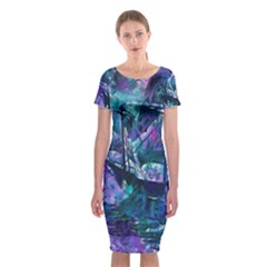 Abstract Ship Water Scape Ocean Classic Short Sleeve Midi Dress