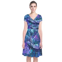 Abstract Ship Water Scape Ocean Short Sleeve Front Wrap Dress