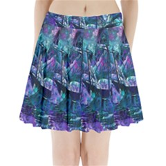 Abstract Ship Water Scape Ocean Pleated Mini Skirt