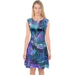 Abstract Ship Water Scape Ocean Capsleeve Midi Dress
