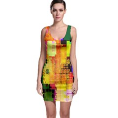 Abstract Squares Background Pattern Sleeveless Bodycon Dress