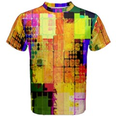Abstract Squares Background Pattern Men s Cotton Tee