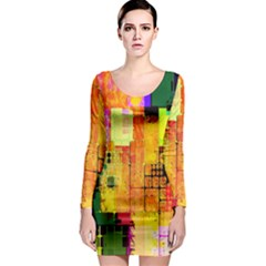 Abstract Squares Background Pattern Long Sleeve Bodycon Dress