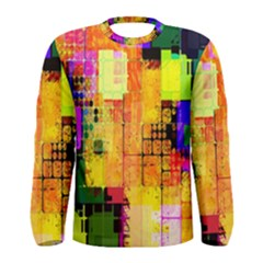 Abstract Squares Background Pattern Men s Long Sleeve Tee