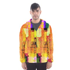 Abstract Squares Background Pattern Hooded Wind Breaker (Men)