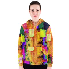 Abstract Squares Background Pattern Women s Zipper Hoodie