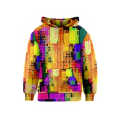 Abstract Squares Background Pattern Kids  Zipper Hoodie