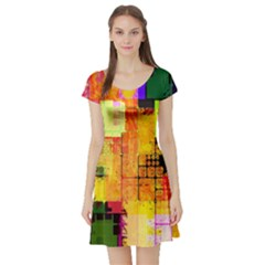 Abstract Squares Background Pattern Short Sleeve Skater Dress