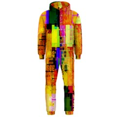 Abstract Squares Background Pattern Hooded Jumpsuit (men)