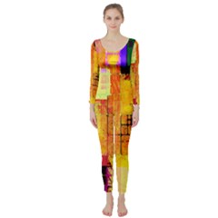 Abstract Squares Background Pattern Long Sleeve Catsuit