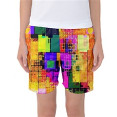 Abstract Squares Background Pattern Women s Basketball Shorts