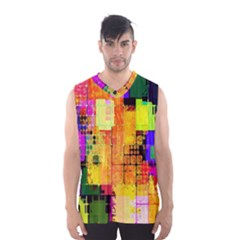 Abstract Squares Background Pattern Men s Basketball Tank Top